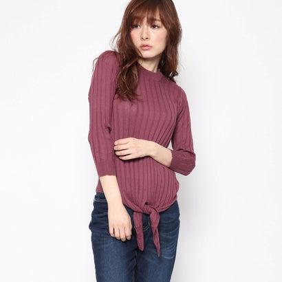 リネーム Rename 裾リボン7分袖セーター (ラズベリー)