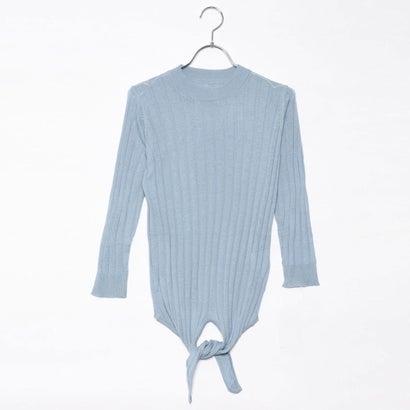 リネーム Rename 裾リボン7分袖セーター (グレイッシュブルー)