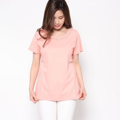 リネーム Rename ビジュー付Tシャツ (サーモンピンク)