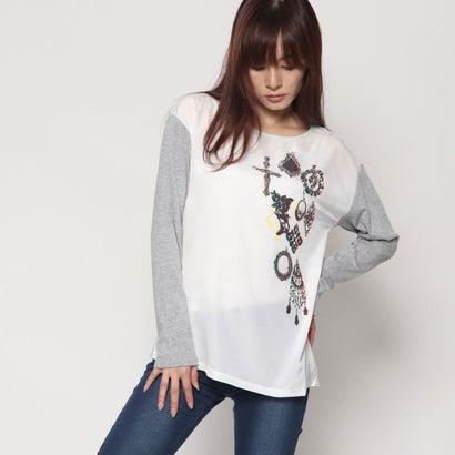 リネーム Rename 異素材使いプリントTシャツ (グレーモク×アイボリー)