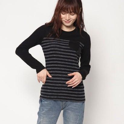 リネーム Rename スタッズポケット付きボーダーTシャツ (ブラック)
