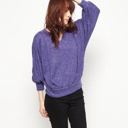 リネーム Rename パフ袖風Vネックセーター (パープル)