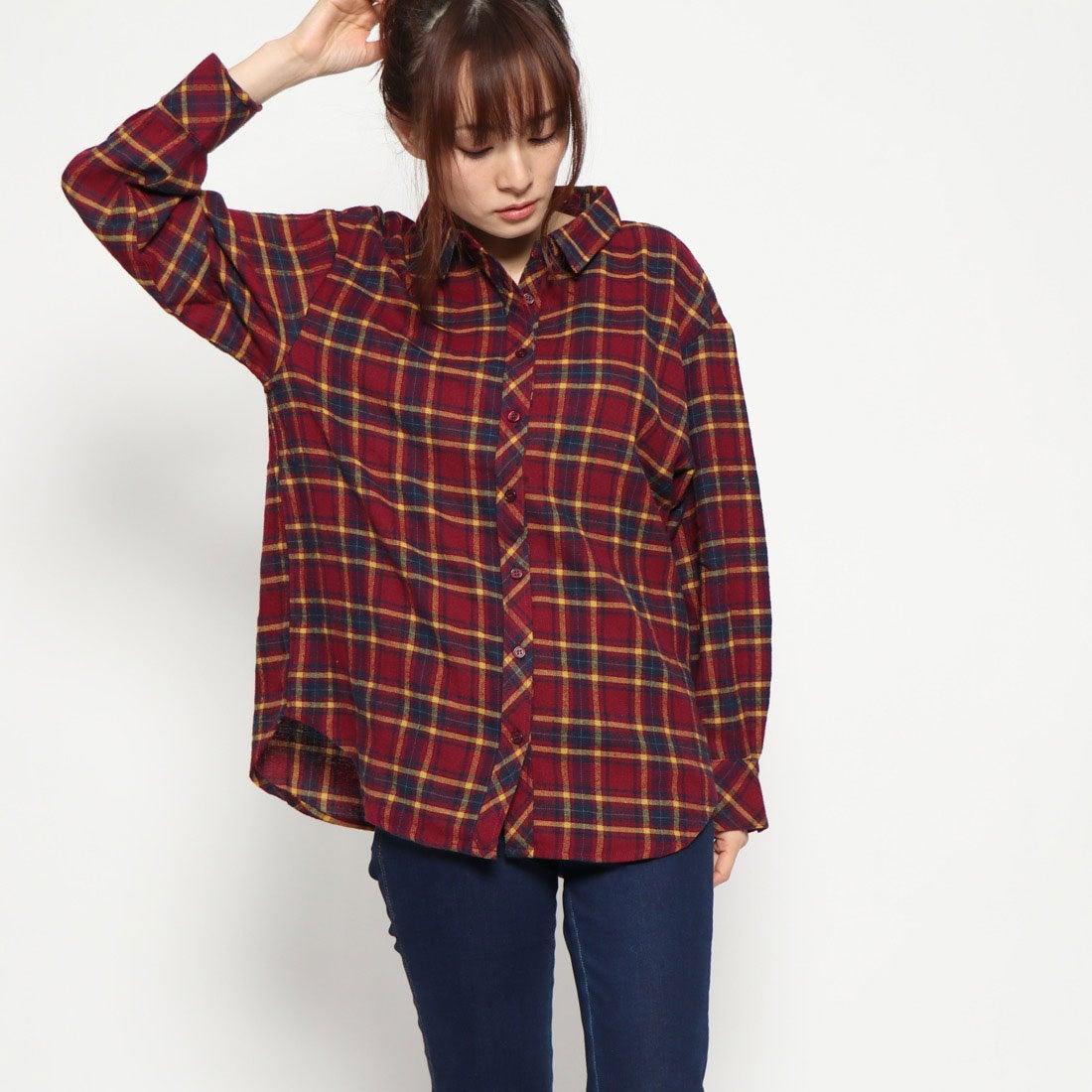 c20d3064fb368 フューティアランド Futier Land 3wayチェックシャツ (ワインレッド) -レディースファッション通販 ロコンドガールズコレクション  (ロココレ)