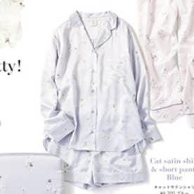 ジェラートピケ gelato pique キャットサテンシャツ (ブルー)