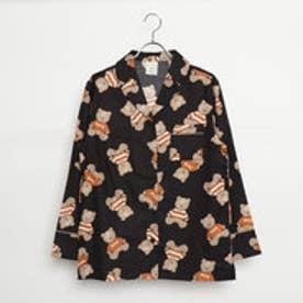 ジェラートピケ gelato pique テディベアガラパジャマシャツ (ブラック)