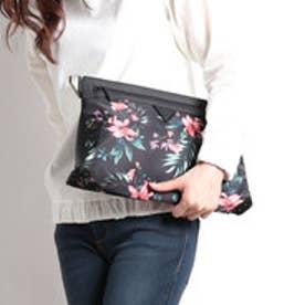 ゲス GUESS FLOWER PRINT CLUTCH BAG (BLACK)