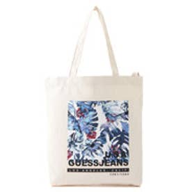 ゲス GUESS PALM PRINT CANVAS TOTE BAG (IVORY)