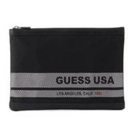 ゲス GUESS MESH LETTERING CLUTCH BAG (BLACK)