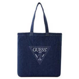 ゲス GUESS EMBROIDERY TRIANGLE LOGO DENIM SHOULDER TOTE BAG (DARK BLUE)