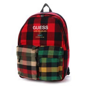 ゲス GUESS LOGO MULTI BLOCK CHECK BACKPACK (RED)
