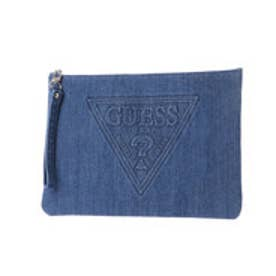 ゲス GUESS EMBOSS LOGO DENIM CLUTCH BAG (MEDIUM BLUE)