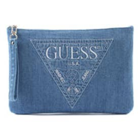 ゲス GUESS STITCH TRIANGLE LOGO DENIM CLUTCH BAG (MEDIUM BLUE)
