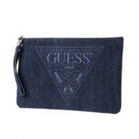 ゲス GUESS STITCH TRIANGLE LOGO DENIM CLUTCH BAG (DARK BLUE)