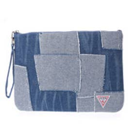 ゲス GUESS PATCHWORK DENIM CLUTCH BAG (MEDIUM BLUE)