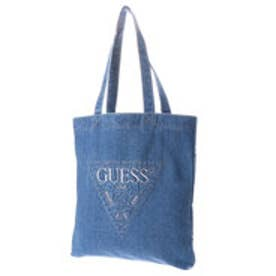 ゲス GUESS STITCH TRIANGLE LOGO DENIM TOTE BAG (MEDIUM BLUE)