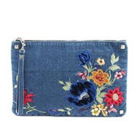 ゲス GUESS FLORAL DENIM CLUTCH BAG (DARK BLUE)