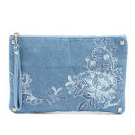 ゲス GUESS FLORAL DENIM CLUTCH BAG (LIGHT BLUE)