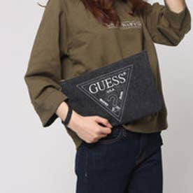 ゲス GUESS EMBROIDERY TRIANGLE LOGO DENIM CLUTCH BAG (BLACK)