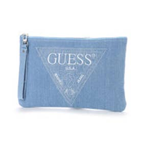 ゲス GUESS EMBROIDERY TRIANGLE LOGO DENIM CLUTCH BAG (MEDIUM BLUE)