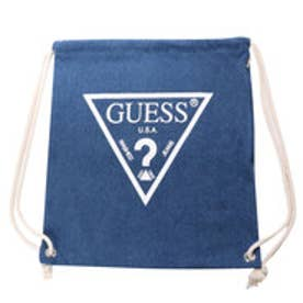 ゲス GUESS Originals WHITE TRIANGLE LOGO DENIM KNAPSACK (MEDIUM BLUE)