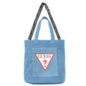 ゲス GUESS TRIANGLE LOGO DENIM SHOULDER TOTE BAG(MEDIUM BLUE)【ONLINE EXCLUSIVE ITEM】