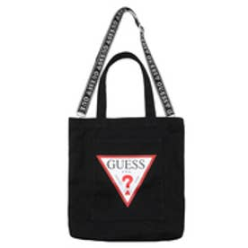 ゲス GUESS TRIANGLE LOGO CANVAS SHOULDER TOTE BAG (BLACK)【ONLINE EXCLUSIVE ITEM】