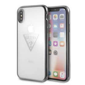 ゲス GUESS TRIANGLE LOGO TRANSPARENT TPU CASE for iPhone X (SILVER)【JAPAN EXCLUSIVE ITEM】