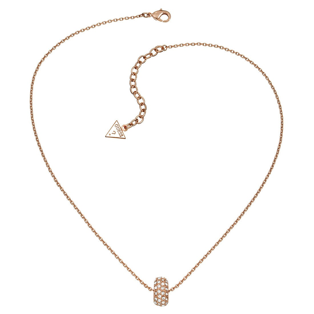 ゲス GUESS PAVE PENDANT NECKLACE (ROSE GOLD)