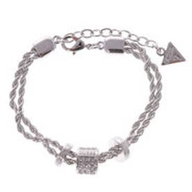 ゲス GUESS G COLORS B-3 BEADS CLEAR CRYSTAL BRACELET (SILVER)