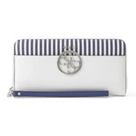 ゲス GUESS KAMRYN STRIPED LARGE ZIP AROUND WALLET (BLUE STRIPE)