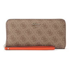 ゲス GUESS JACQUI MONOGRAM LARGE ZIP AROUND WALLET (BROWN MULTI)
