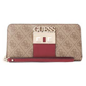 ゲス GUESS LOGO LUXE LARGE ZIP AROUND WALLET (BROWN)