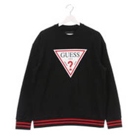 ゲス GUESS MEN'S L/S LOGO CREW SWEAT (BLACK)