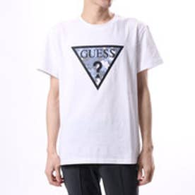 ゲス GUESS MEN'S S/S CAMO TRIANGLE LOGO TEE (WHITE)