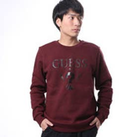ゲス GUESS MEN'S L/S LOGO CREW SWEAT (WINE)