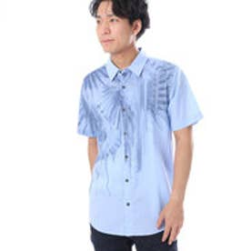 ゲス GUESS S/S FADED PALM PRINT SLIM-FIT SHIRT (EU STARLIGHT BLUE MULTI)