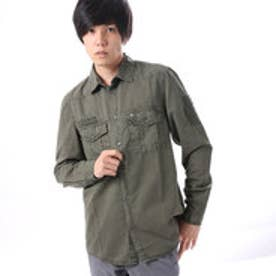ゲス GUESS L/S COTTON TWILL & PATCH SHIRT (CAMOUFLAGE GREEN)