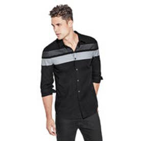 ゲス GUESS OXFORD MOTO CROSS SHIRT (JET BLACK MULTI)