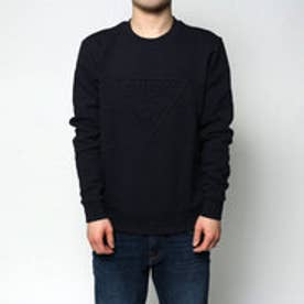 ゲス GUESS EMBOSS TRIANGLE LOGO L/S CREW SWEAT (NAVY)