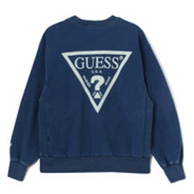 ゲス GUESS Originals TRIANGLE LOGO INDIGO CREW SWEAT (DARK BLUE)【JAPAN EXCLUSIVE ITEM】