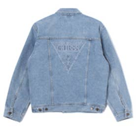 ゲス GUESS Originals STITCH TRIANGLE LOGO DENIM JACKET (MEDIUM BLUE)