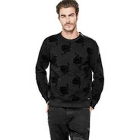 ゲス GUESS ROY FLOCKED CREW SWEAT (BARB WIRE FLORAL JET BLACK)
