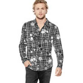 ゲス GUESS MOSH FLORAL PLAID SHIRT (FLORAL PRINTED PLAID JET BLACK)