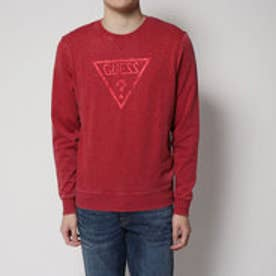 ゲス GUESS LARRY TRIANGLE LOGO FLEECE SWEAT (WHITE TULIP RED HEATHER)