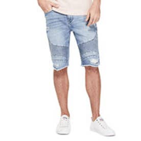 ゲス GUESS SLIM MOTO STITCHING DENIM SHORT (HAVEN WASH BLUE W/ DESTROY)
