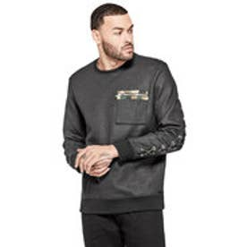 ゲス GUESS LOGAN COATED  LACE UP CREW SWEAT (JET BLACK)