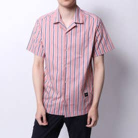 ゲス GUESS OPEN COLLAR STRIPE S/S SHIRT (PINK)