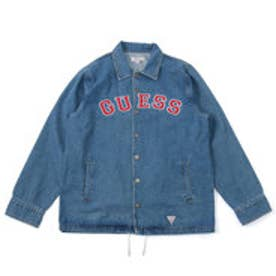ゲス GUESS GUESS Originals ARCH LOGO DENIM COACH JACKET (MEDIUM BLUE)【JAPAN EXCLUSIVE ITEM】
