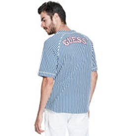 ゲス GUESS Originals BASEBALL LOGO JERSEY (UMPIRE STRIPE MOUNTAIN BLUE)