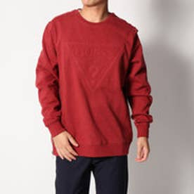 ゲス GUESS ROY EMBOSSED TRIANGLE LOGO SWEAT (FIRE BRICK RED HEATHER)